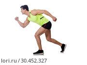 Купить «Strong male athlete isolated on white», фото № 30452327, снято 24 мая 2015 г. (c) Elnur / Фотобанк Лори