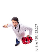 Young male doctor paramedic isolated on white. Стоковое фото, фотограф Elnur / Фотобанк Лори