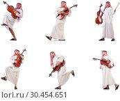Купить «Arab man playing cello isolated on white», фото № 30454651, снято 8 июля 2020 г. (c) Elnur / Фотобанк Лори