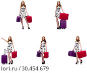 Купить «Beautiful woman in polka dot dress with suitcases isolated on wh», фото № 30454679, снято 22 апреля 2019 г. (c) Elnur / Фотобанк Лори