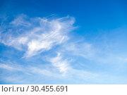 Купить «Blue sky at daytime with cirrus clouds», фото № 30455691, снято 31 октября 2018 г. (c) EugeneSergeev / Фотобанк Лори