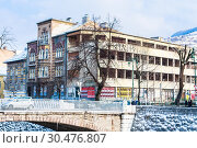 Many buildings in Sarajevo still show the damage scars of the 1992-96 siege of the city. Bosnia and Herzegovina (2018 год). Редакционное фото, фотограф Николай Коржов / Фотобанк Лори