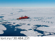 Aerial of the Icebreaker '50 years of victory' on its way to the North Pole breaking through the ice, Arctic. Стоковое фото, фотограф Michael Runkel / age Fotostock / Фотобанк Лори