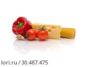 Купить «Pasta, cheese and vegetables on a white background», фото № 30487475, снято 24 марта 2012 г. (c) Ласточкин Евгений / Фотобанк Лори