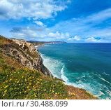 Summer ocean coastline view in Getxo town (Spain). Стоковое фото, фотограф Юрий Брыкайло / Фотобанк Лори