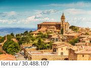 Купить «View of the medieval Italian town of Montalcino. Tuscany», фото № 30488107, снято 13 мая 2014 г. (c) Наталья Волкова / Фотобанк Лори