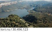 Купить «Scenic panoramic view from high point of Sau reservoir, Catalonia, at autumn day», видеоролик № 30496123, снято 17 ноября 2018 г. (c) Яков Филимонов / Фотобанк Лори