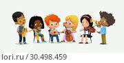 Купить «Children Orchestra Kids Play Various Music Instrument», иллюстрация № 30498459 (c) Olga Petrakova / Фотобанк Лори