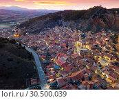 Купить «Aerial view of Daroca with Basilica at sunset», фото № 30500039, снято 9 марта 2019 г. (c) Яков Филимонов / Фотобанк Лори