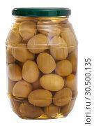 Купить «Glass jar with whole olives», фото № 30500135, снято 20 апреля 2019 г. (c) Яков Филимонов / Фотобанк Лори