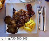 Купить «Appetizing roasted mutton», фото № 30500163, снято 22 мая 2019 г. (c) Яков Филимонов / Фотобанк Лори