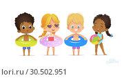 Купить «Happy Multiracial Friend Play in Swimming Pool. Fun Party Child Relax Summer Vacation. Black Girl Swimsuit with Ring. White Blonde Laugh Sunglasses Flat Cartoon Vector», иллюстрация № 30502951 (c) Olga Petrakova / Фотобанк Лори