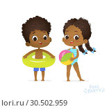 Купить «Happy Afro American Children in Swimming Pool. Boy and Girl in Swimsuit Travel to Summer Water Camp. Friend on Sea Beach. Afro Kid Relax Comic Party Flat Cartoon Vector Illustration.», иллюстрация № 30502959 (c) Olga Petrakova / Фотобанк Лори