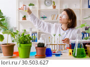 Купить «Old female biotechnology chemist working in the lab», фото № 30503627, снято 7 декабря 2018 г. (c) Elnur / Фотобанк Лори
