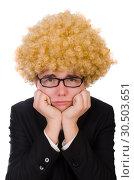 Купить «Young man wearing afro wig», фото № 30503651, снято 13 февраля 2014 г. (c) Elnur / Фотобанк Лори
