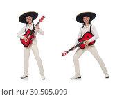 Купить «Mexican guitar player isolated on white», фото № 30505099, снято 1 мая 2015 г. (c) Elnur / Фотобанк Лори