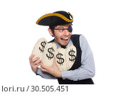 Businessman pirate isolated on white background. Стоковое фото, фотограф Elnur / Фотобанк Лори