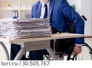 Купить «Aged employee in wheelchair working in the office», фото № 30505767, снято 10 января 2019 г. (c) Elnur / Фотобанк Лори