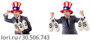 Купить «Man with american hat with moneybags», фото № 30506743, снято 17 июня 2019 г. (c) Elnur / Фотобанк Лори