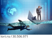 Купить «Businessmen in competition concept with shark», фото № 30506971, снято 20 апреля 2019 г. (c) Elnur / Фотобанк Лори