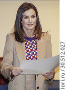 Купить «Queen Letizia of Spain visits the School of Engraving and Graphic Design and delivery the awards of Graduation to the 7th promotion of the 'Master in Engraving...», фото № 30512027, снято 8 апреля 2019 г. (c) age Fotostock / Фотобанк Лори