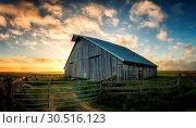 Купить «Old Barn at Sunset, Panoramic Color Image», фото № 30516123, снято 26 мая 2016 г. (c) easy Fotostock / Фотобанк Лори