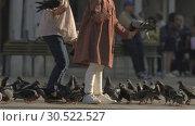 Купить «A slowmotion of two women feeding pigeons in Venice», видеоролик № 30522527, снято 16 июля 2020 г. (c) Данил Руденко / Фотобанк Лори