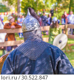 Купить «Russia, Samara, September 2018: Spectacular staged battles of Slavic warriors and knights at the festival in Zagorodny Park.», фото № 30522847, снято 16 сентября 2018 г. (c) Акиньшин Владимир / Фотобанк Лори