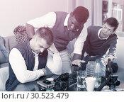 Купить «Offended man during quarrel with friends», фото № 30523479, снято 23 февраля 2018 г. (c) Яков Филимонов / Фотобанк Лори