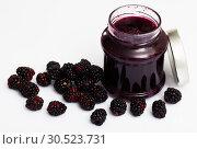 Купить «Glass jar of blackberry jam. Summer dish», фото № 30523731, снято 5 апреля 2020 г. (c) Яков Филимонов / Фотобанк Лори