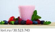 Купить «Yogurt smoothie with fresh berries», фото № 30523743, снято 20 апреля 2019 г. (c) Яков Филимонов / Фотобанк Лори