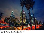 Купить «Los Angeles at night, CA, USA», фото № 30526207, снято 21 ноября 2010 г. (c) Sergey Borisov / Фотобанк Лори