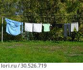 Купить «Сушка белья на улице», эксклюзивное фото № 30526719, снято 21 сентября 2014 г. (c) lana1501 / Фотобанк Лори