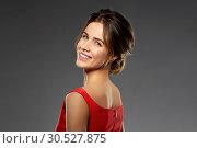 Купить «portrait of beautiful young woman looking back», фото № 30527875, снято 20 января 2019 г. (c) Syda Productions / Фотобанк Лори