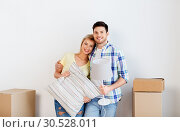Купить «couple with pillow and lamp moving to new home», фото № 30528011, снято 25 февраля 2016 г. (c) Syda Productions / Фотобанк Лори