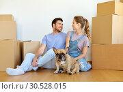 Купить «happy couple with boxes and dog moving to new home», фото № 30528015, снято 4 июня 2017 г. (c) Syda Productions / Фотобанк Лори