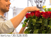 Купить «florist or seller setting red roses at flower shop», фото № 30528935, снято 27 марта 2016 г. (c) Syda Productions / Фотобанк Лори