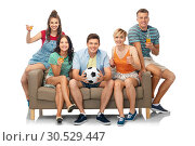 Купить «friends or soccer fans with ball and drinks», фото № 30529447, снято 30 июня 2018 г. (c) Syda Productions / Фотобанк Лори