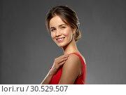 Купить «portrait of beautiful young woman in red dress», фото № 30529507, снято 20 января 2019 г. (c) Syda Productions / Фотобанк Лори