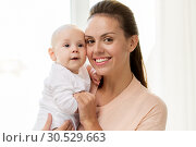 Купить «happy mother with little baby boy at home», фото № 30529663, снято 1 сентября 2017 г. (c) Syda Productions / Фотобанк Лори