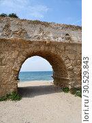 Купить «Roman aqueducts Caesarea Maritima Israel», фото № 30529843, снято 4 апреля 2019 г. (c) Знаменский Олег / Фотобанк Лори