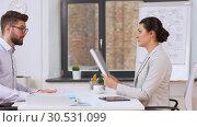 Купить «employer having interview with employee at office», видеоролик № 30531099, снято 29 марта 2019 г. (c) Syda Productions / Фотобанк Лори