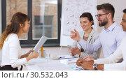 Купить «recruiters having interview with employee», видеоролик № 30532043, снято 29 марта 2019 г. (c) Syda Productions / Фотобанк Лори