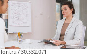 Купить «employer having interview with employee at office», видеоролик № 30532071, снято 29 марта 2019 г. (c) Syda Productions / Фотобанк Лори