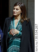 Купить «Queen Letizia of Spain attends the Inauguration of the accessibility works carried out in the Real Monasterio de la Encarnacion on April 10, 2019 in Madrid, Spain.10/04/2019.», фото № 30534267, снято 10 апреля 2019 г. (c) age Fotostock / Фотобанк Лори