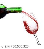 Купить «Pouring red wine», фото № 30536323, снято 8 февраля 2011 г. (c) Tryapitsyn Sergiy / Фотобанк Лори