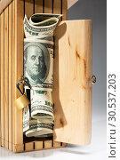 Купить «Wooden moneybox full of money», фото № 30537203, снято 20 мая 2011 г. (c) Tryapitsyn Sergiy / Фотобанк Лори