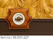 Купить «Antique wooden light switch», фото № 30537227, снято 26 мая 2011 г. (c) Tryapitsyn Sergiy / Фотобанк Лори