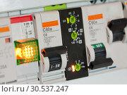 Купить «Electrical fuseboxes and components», фото № 30537247, снято 27 мая 2011 г. (c) Tryapitsyn Sergiy / Фотобанк Лори