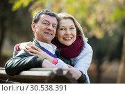 Купить «Mature loving couple in spring park», фото № 30538391, снято 4 августа 2020 г. (c) Яков Филимонов / Фотобанк Лори